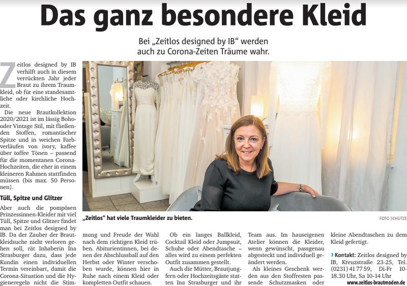 Zeitungsartikel Zeitlos Brautmoden